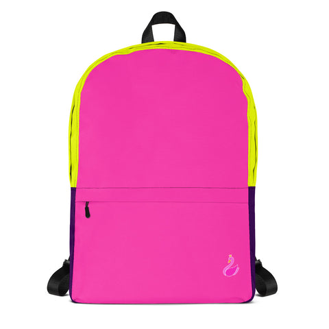 Color Block Neon Pink/Yellow/Purple Backpack-pnkswn