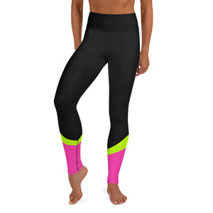 Color Block Black/Green/Pink Yoga Leggings Aello-pnkswn