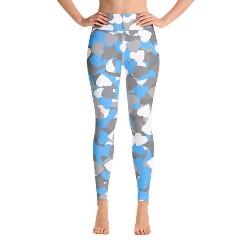 Image of Camo Blue Hearts Print Yoga Leggings-pnkswn