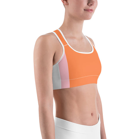 Slimming Stripes Orange Sports Bra-pnkswn