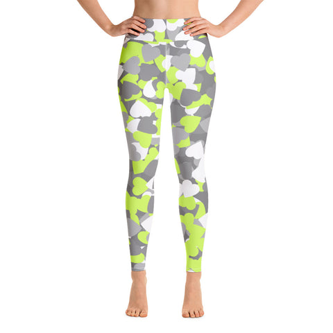 Camo Green Hearts Print Yoga Leggings-pnkswn