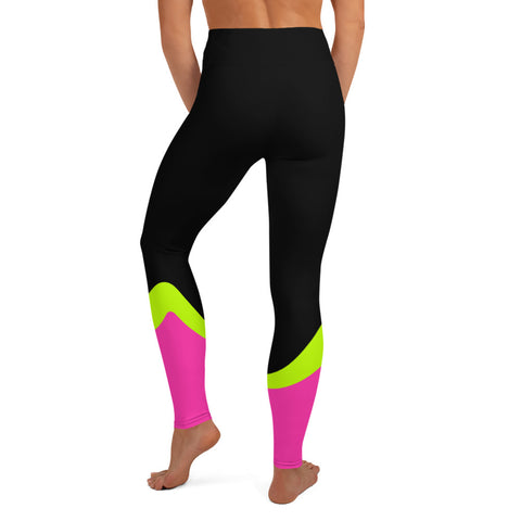 Image of Color Block Black/Green/Pink Yoga Leggings Aello-pnkswn