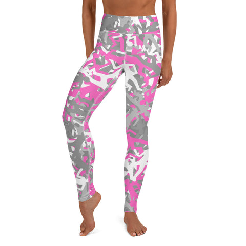 Camo Pink Body Outline Print Yoga Leggings-pnkswn
