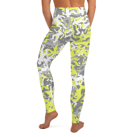 Camo Yellow Body Outline Print Yoga Leggings-pnkswn