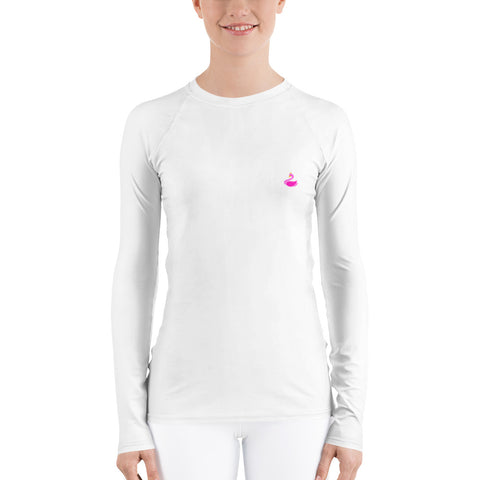 White Women's Rash Guard-pnkswn