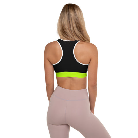Color Block Black/Green/Pink Padded Sports Bra Phaneus-pnkswn