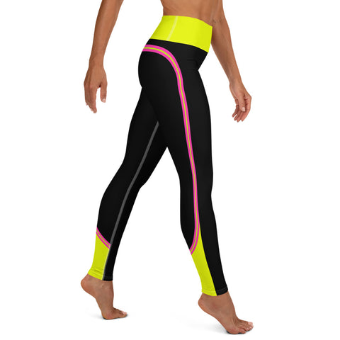 Color Block Black/Pink/Yellow Yoga Leggings Nessus-pnkswn