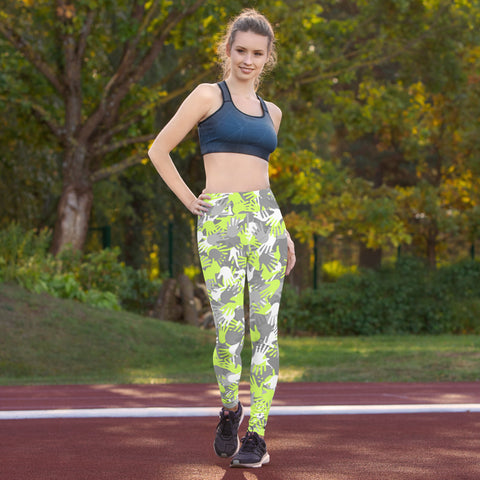 Camo Green Palms Print Yoga Leggings-pnkswn
