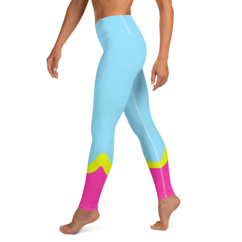 Color Block Blue/Yellow/Pink Yoga Leggings Aello-pnkswn