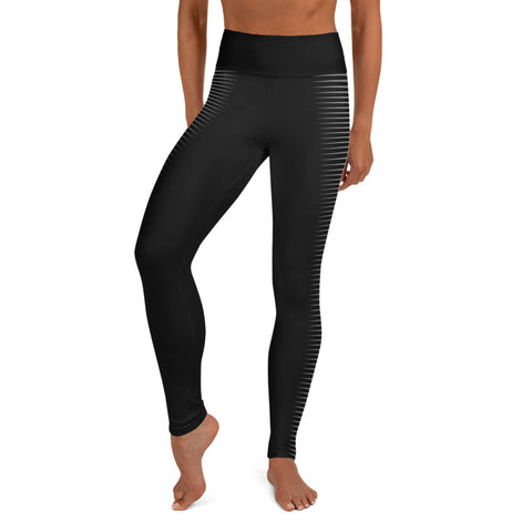 Image of Stripy Black Yoga Leggings with Gray Sides-pnkswn