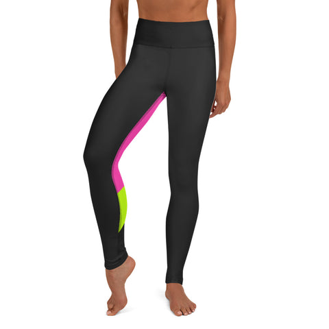 Color Block Black/Green/Pink Yoga Leggings Phoenix-pnkswn