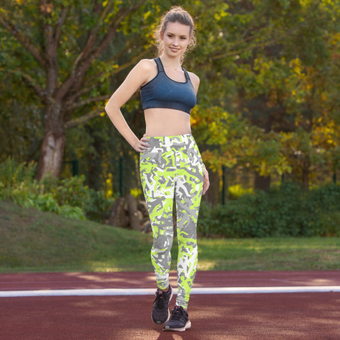 Camo Green Body Outline Print Yoga Leggings-pnkswn