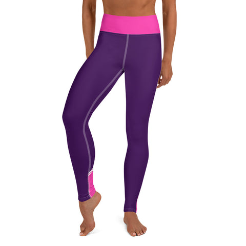 Image of Color Block Purple/Pink/White Yoga Leggings Nessus-pnkswn