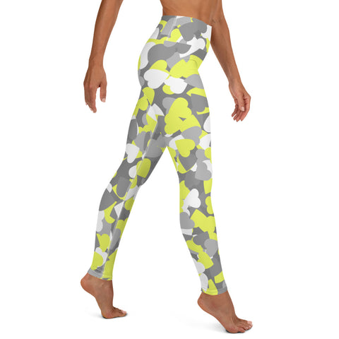 Camo Yellow Hearts Print Yoga Leggings-pnkswn