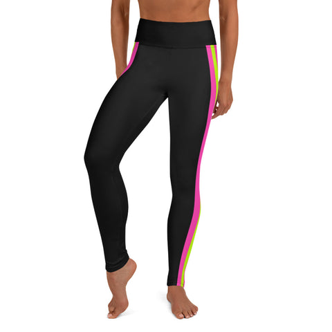 Image of Color Block Black/Green/Pink Yoga Leggings Kobaloi-pnkswn
