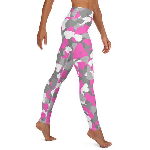 Camo Pink Hearts Print Yoga Leggings-pnkswn