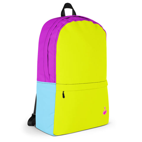 Color Block Neon Yellow/Blue/Purple Backpack-pnkswn
