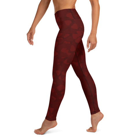 Camo Dark Red Hearts Print Yoga Leggings-pnkswn