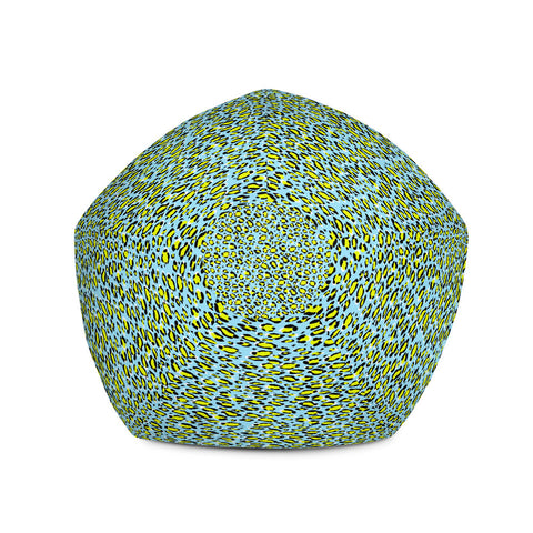 Image of Leopard Blue n Yellow Print Bean Bag Chair w/ filling-pnkswn