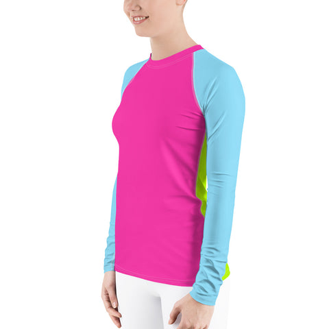 Image of Color Block Pink/Blue/Green Women's Rash Guard-pnkswn