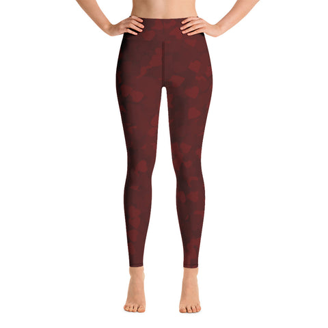 Image of Camo Dark Red Hearts Print Yoga Leggings-pnkswn