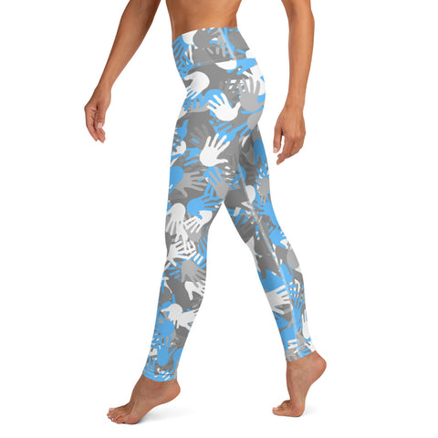 Image of Camo Blue Palms Print Yoga Leggings-pnkswn