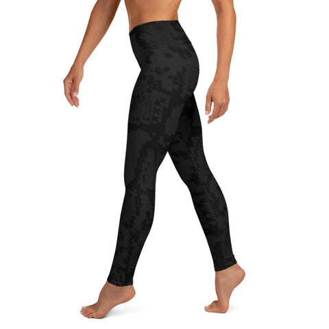 Image of Black Snake Print Yoga Leggings-pnkswn