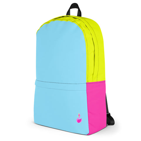 Image of Color Block Neon Blue/Yellow/Pink Backpack-pnkswn