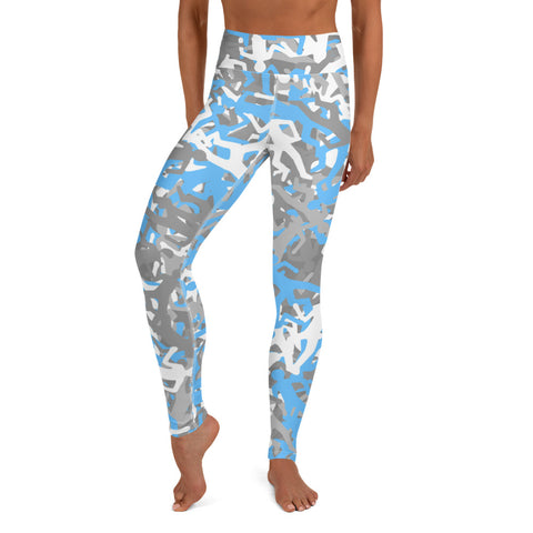 Camo Blue Body Outline Print Yoga Leggings-pnkswn
