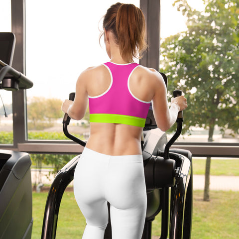 Color Block Black/Green/Pink Padded Sports Bra Chiron-pnkswn