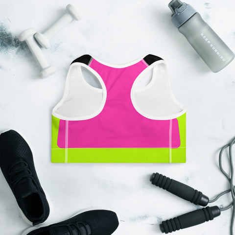 Image of Color Block Black/Green/Pink Padded Sports Bra Chiron-pnkswn