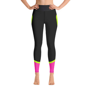 Color Block Black/Green/Pink Yoga Leggings Ceteus-pnkswn