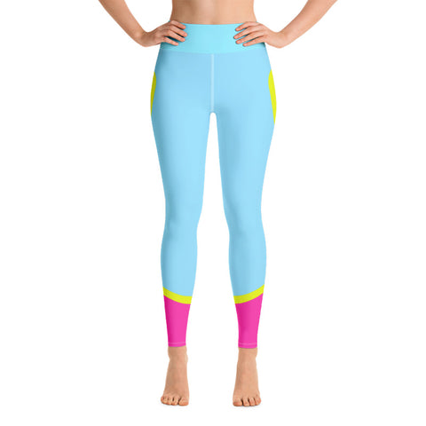 Color Block Blue/Yellow/Pink Yoga Leggings Ceteus-pnkswn
