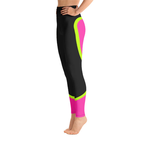 Image of Color Block Black/Green/Pink Yoga Leggings Ceteus-pnkswn
