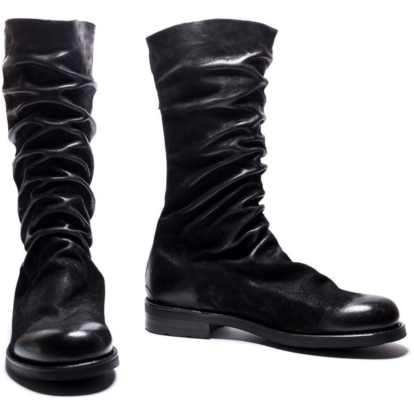 the last conspiracy ASKE waxed suede High Zip Boot 001 Black