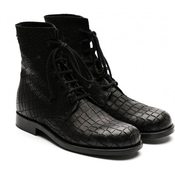the last conspiracy ASLAK cayman croco Laced Boot 001 Black