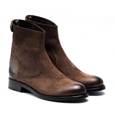 the last conspiracy AUDLEY waxed suede Zip Boot 079 Dark Tobacco