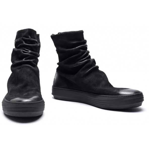 the last conspiracy FINN waxed suede High Top Sneaker 001 Black
