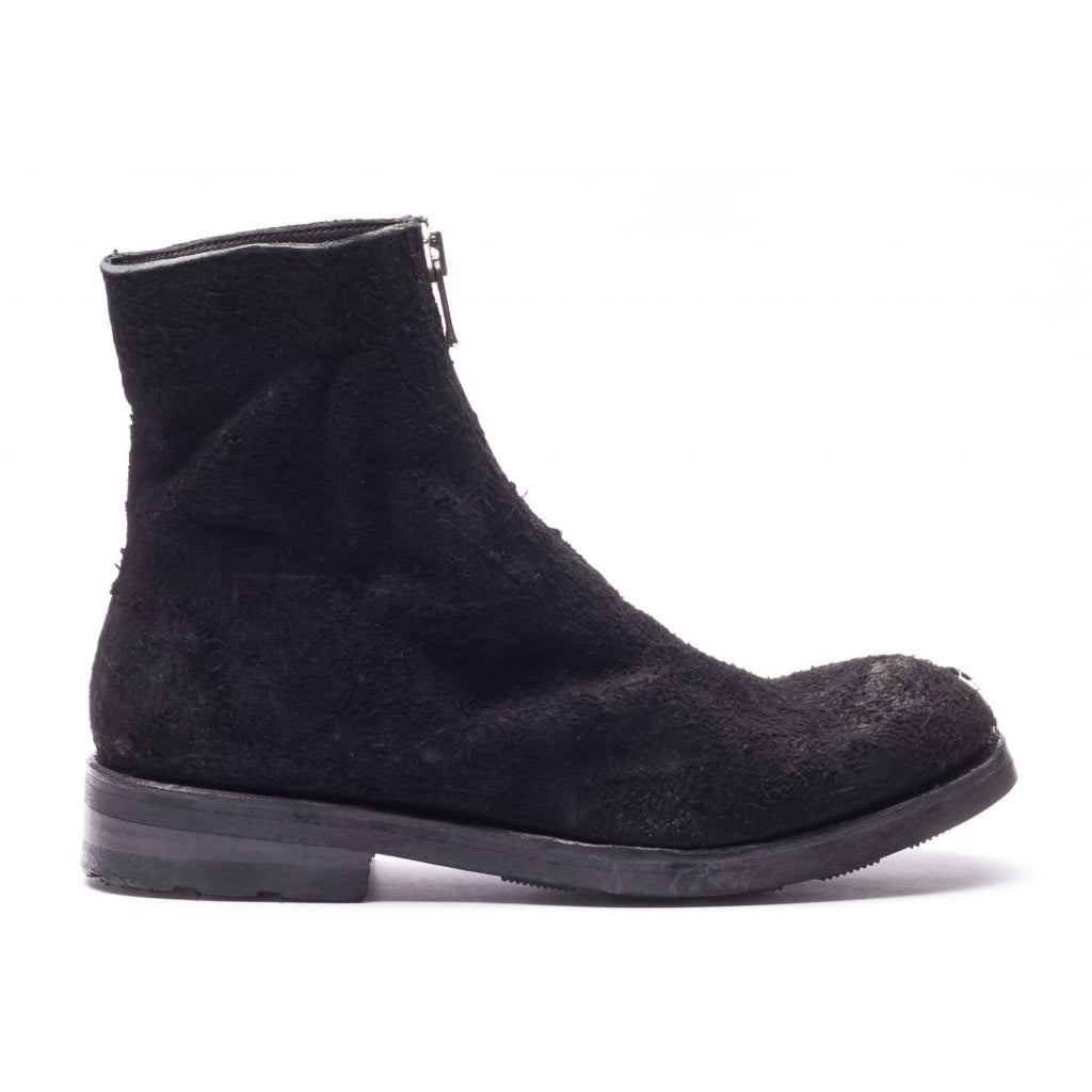 the last conspiracy GNA long haired suede Low Zip Boot 001 Black