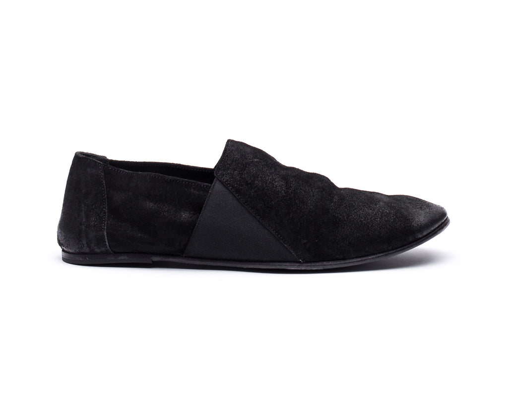 the last conspiracy LAUF waxed suede Espadril 001 Black