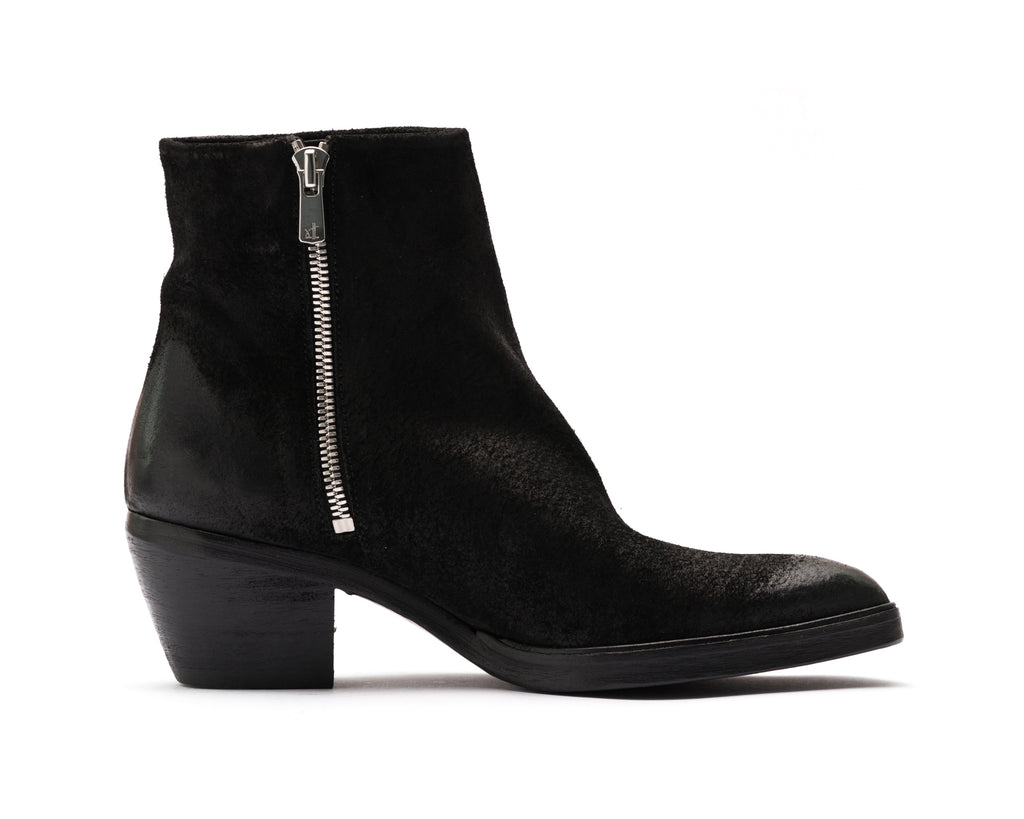 the last conspiracy MAE waxed suede Zip Boot 001 Black