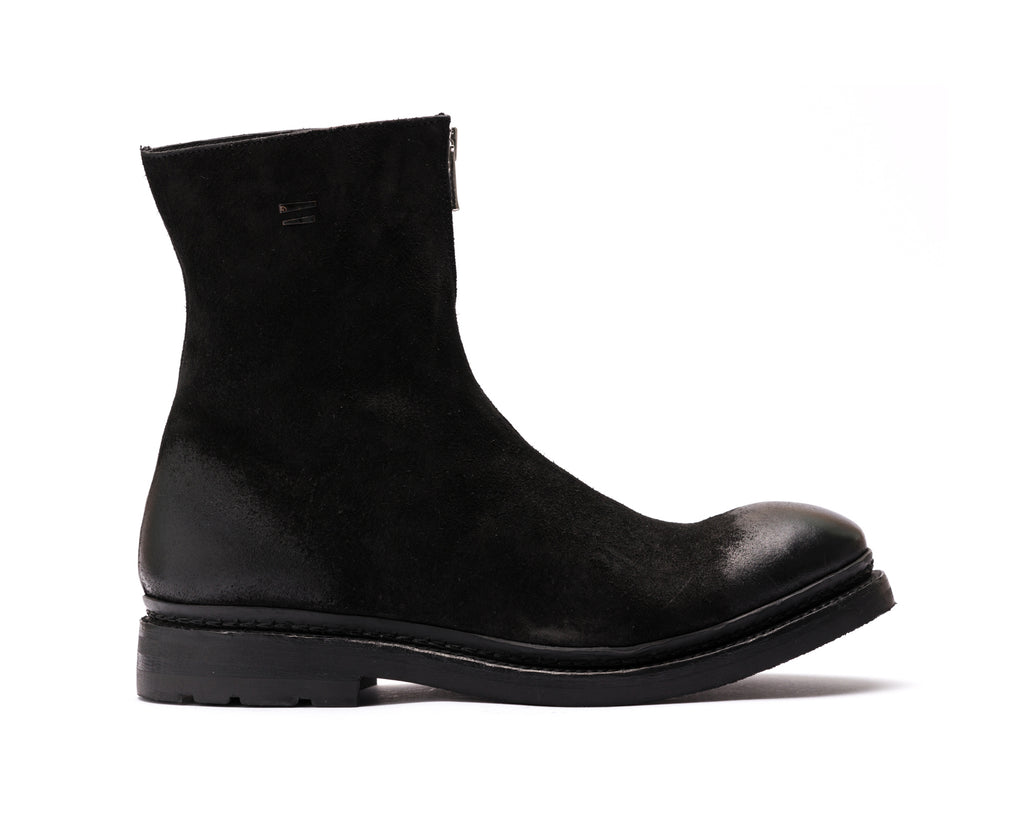 the last conspiracy MAGNE waxed suede Zip Boot 001 Black