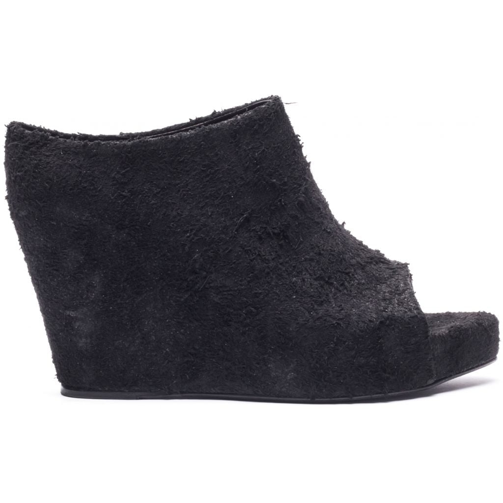 the last conspiracy MAXIME long haired suede Wedge 001 Black