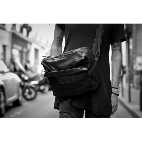Accessories MESSENGER waxed bonded Shoulder Bag 001 Black