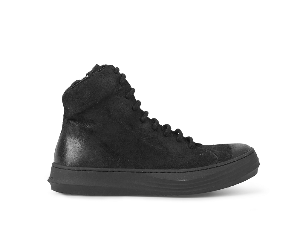 the last conspiracy NANCY waxed suede High Top Sneaker 001 Black