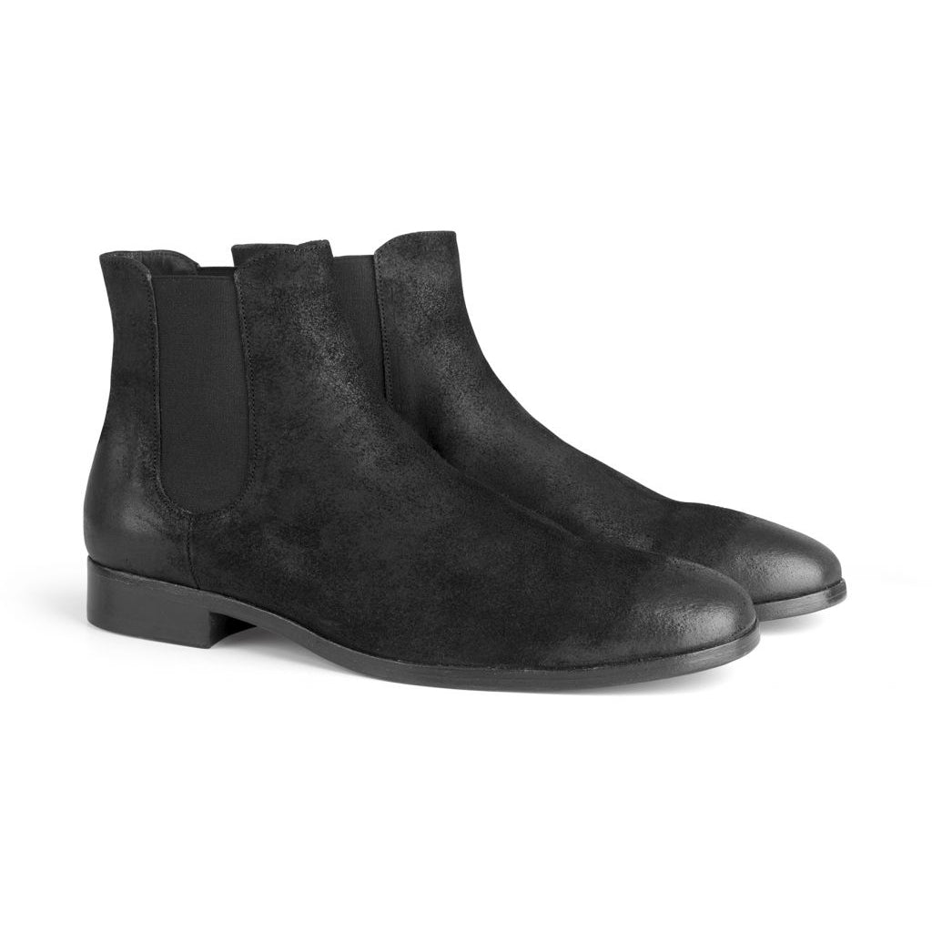 the last conspiracy NANNI waxed suede Chelsea Boot 001 Black