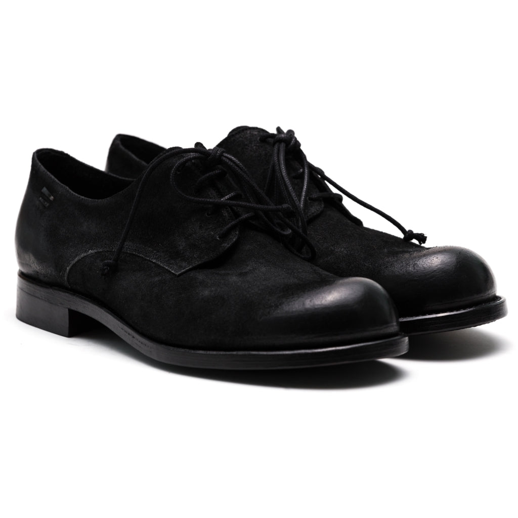 the last conspiracy NARFE waxed suede Laced Shoe 001 Black