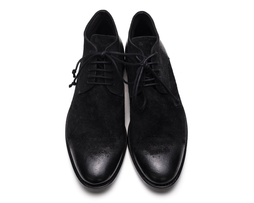 the last conspiracy POL waxed suede Laced Shoe 001 Black
