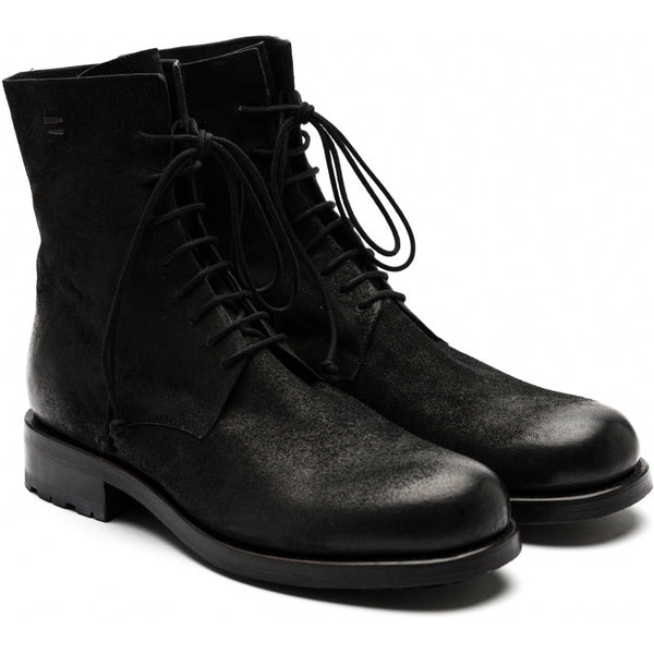 the last conspiracy SEPPO polished waxed suede Laced Boot 001 Black
