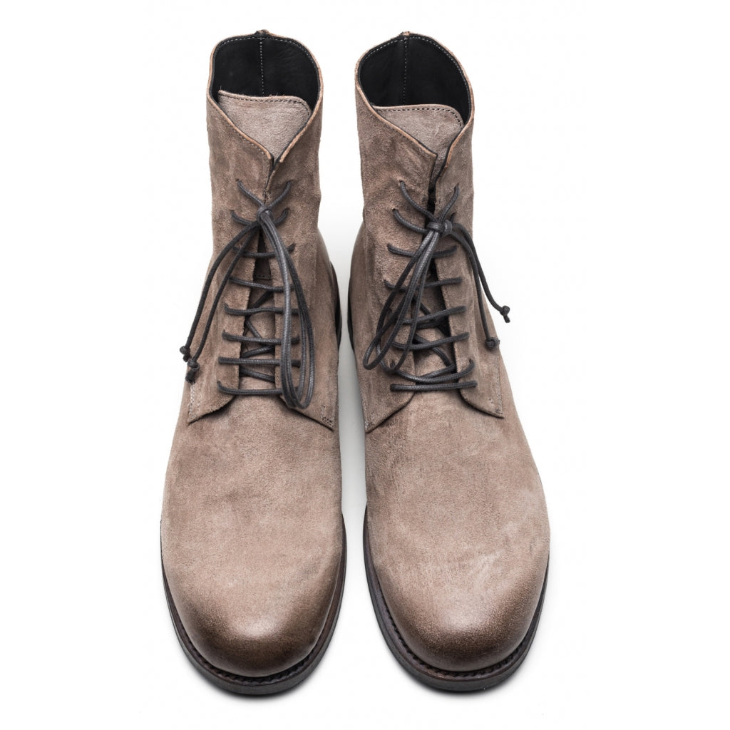 the last conspiracy SEPPO polished waxed suede Laced Boot 086 Light Grey
